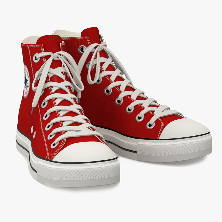 Converse All Star Sneakers ( Red ) royalty-free 3d model - Preview no. 1