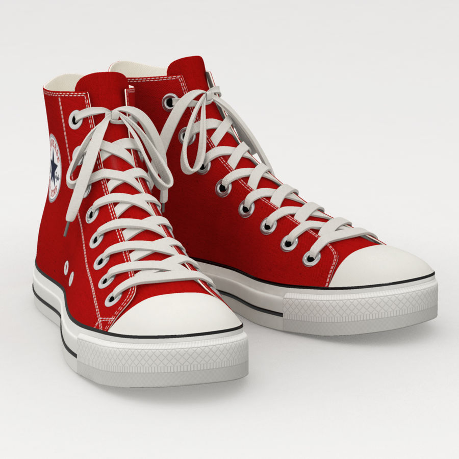 Converse All Star Sneakers ( Red ) royalty-free 3d model - Preview no. 3