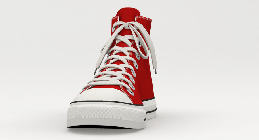 Converse All Star Sneakers ( Red ) royalty-free 3d model - Preview no. 8