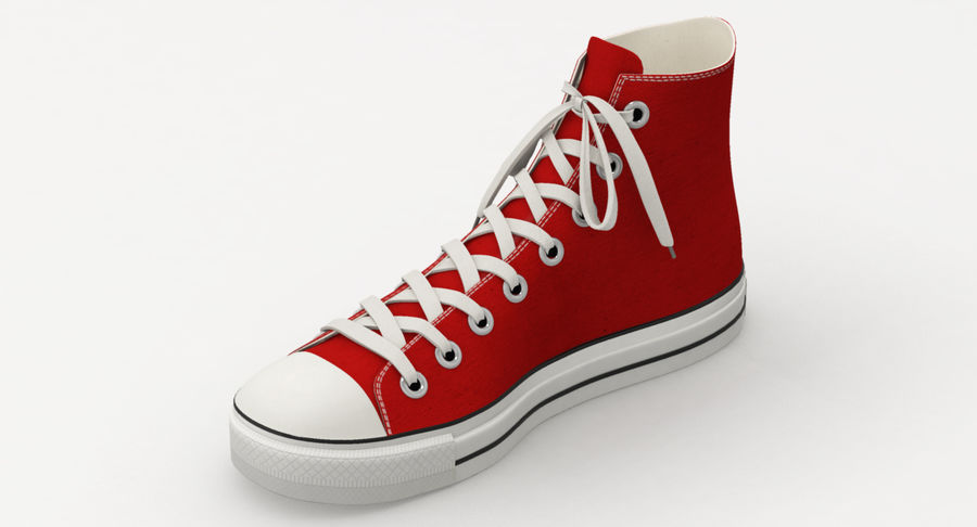 Converse All Star Sneakers ( Red ) royalty-free 3d model - Preview no. 6