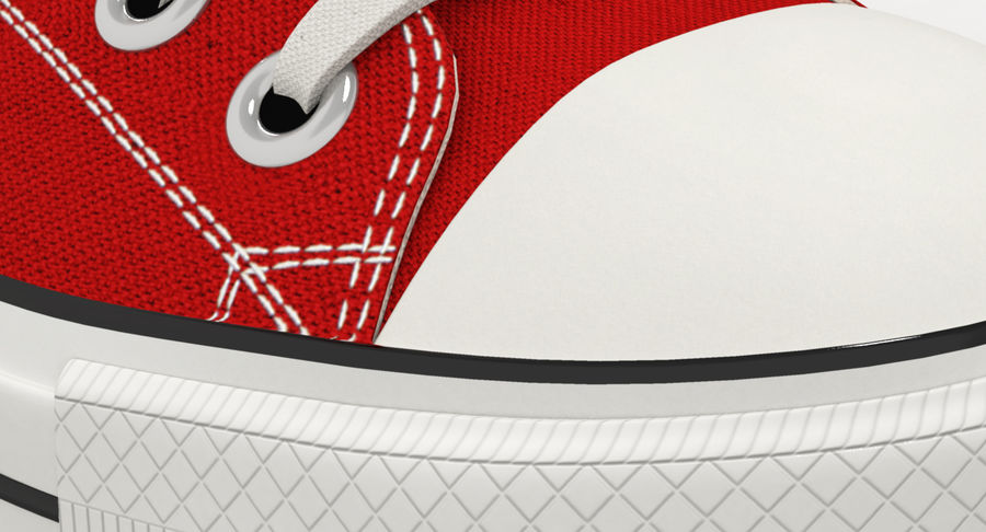 Converse All Star Sneakers ( Red ) royalty-free 3d model - Preview no. 7