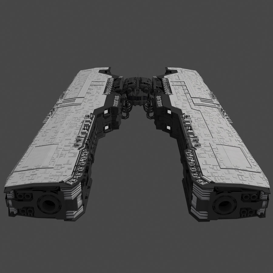 Большой космический корабль 2 - Sci Fi футуристический HD космический корабль (1) royalty-free 3d model - Preview no. 3
