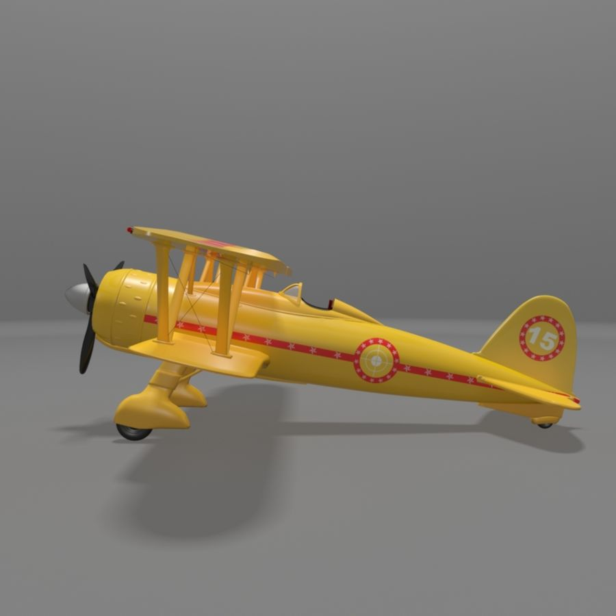 Fiat CR42 Falco Fighter Bi-Plane royalty-free 3d model - Preview no. 4