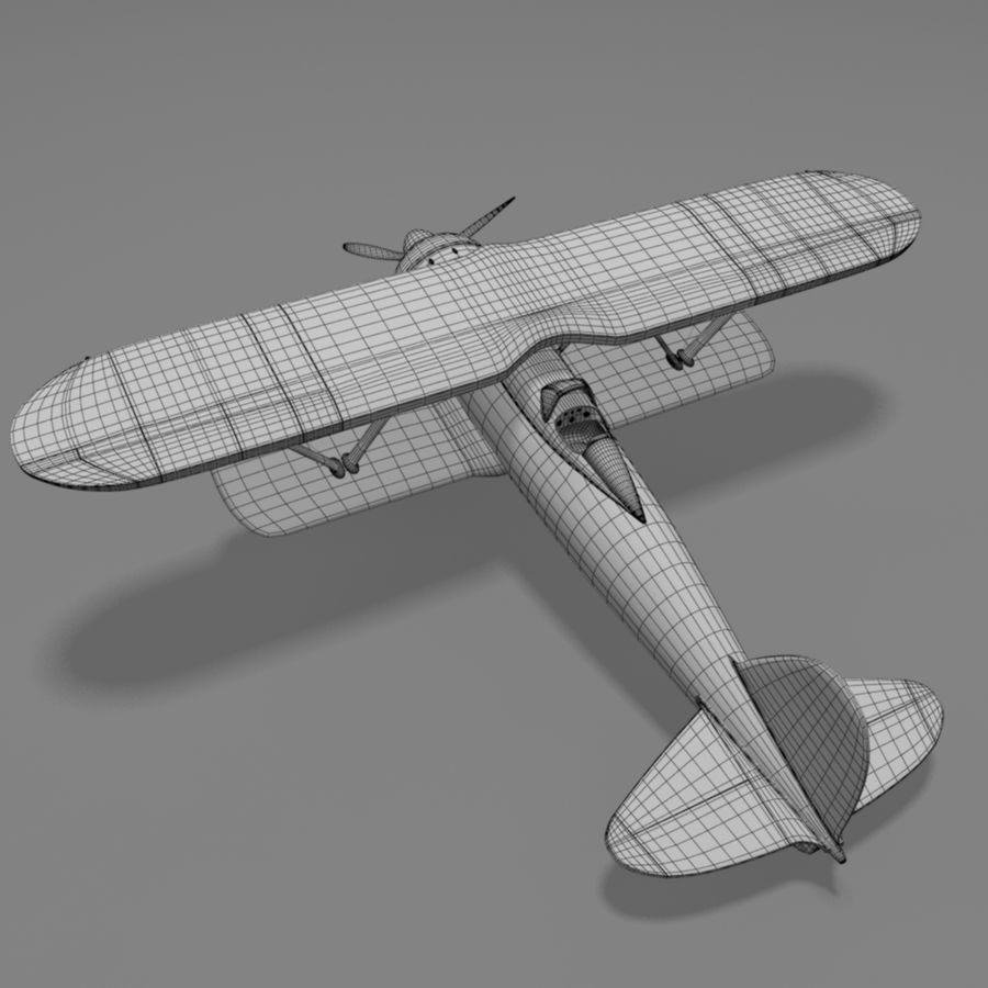 Fiat CR42 Falco Fighter Bi-Plane royalty-free 3d model - Preview no. 2