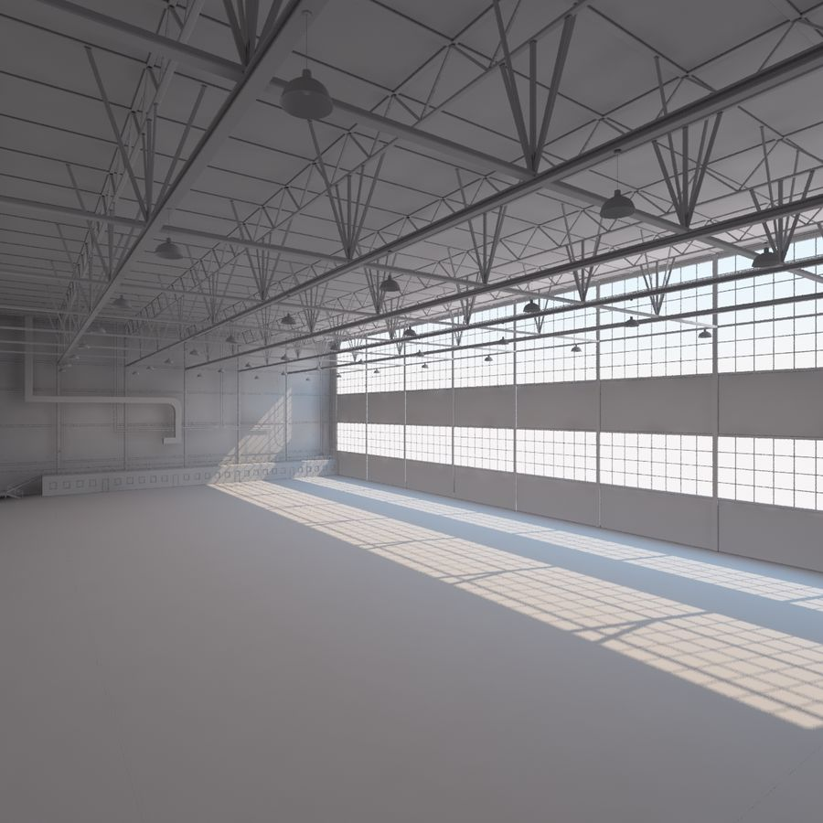 Aircraft hangar royalty-free 3d model - Preview no. 11