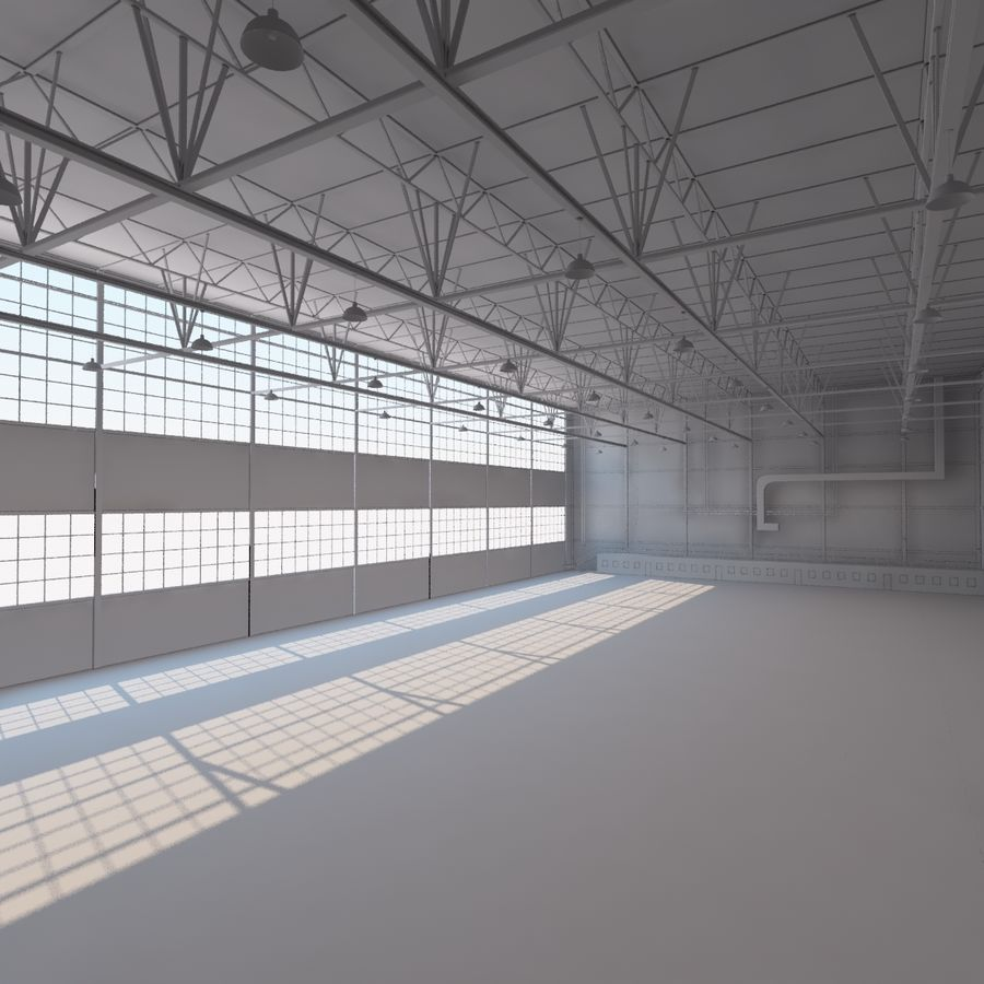 Aircraft hangar royalty-free 3d model - Preview no. 14