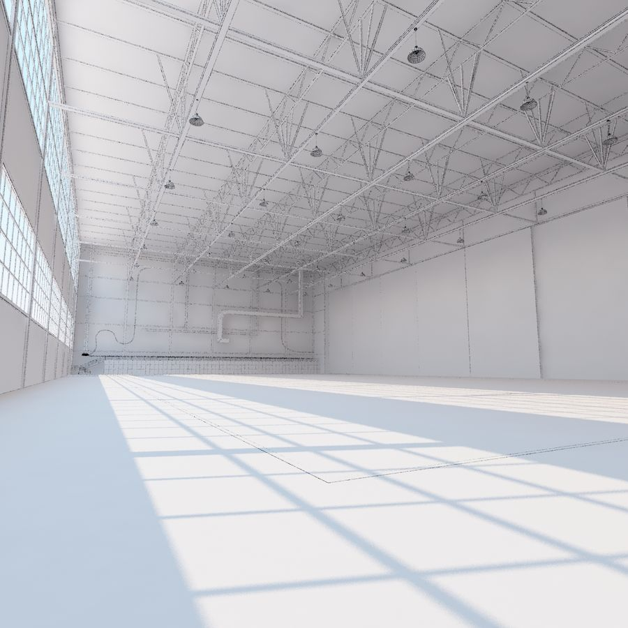 Aircraft hangar royalty-free 3d model - Preview no. 30