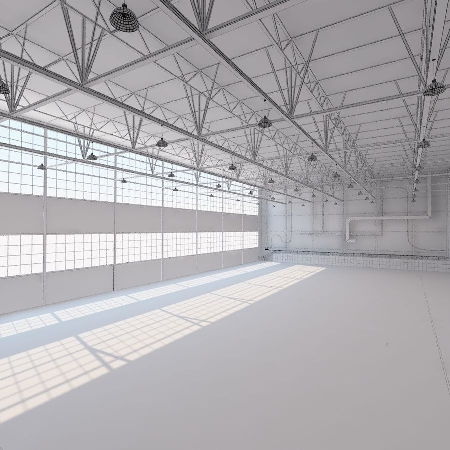 Aircraft hangar royalty-free 3d model - Preview no. 24