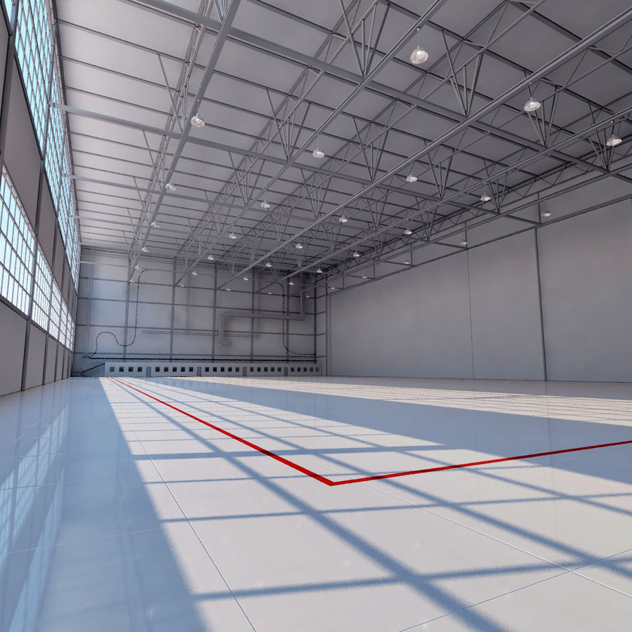 Aircraft hangar royalty-free 3d model - Preview no. 10