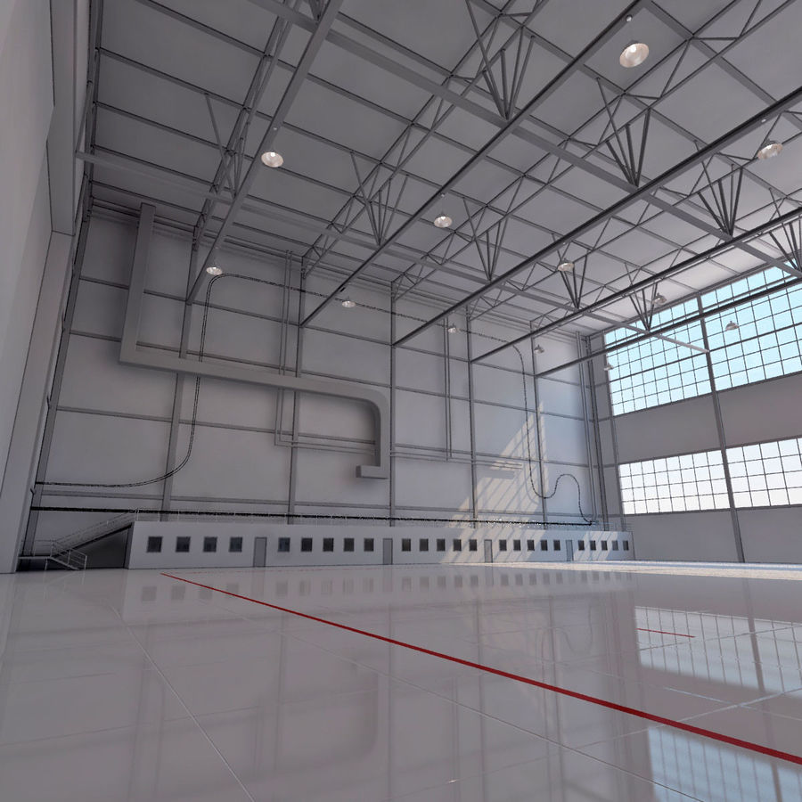 Hangar aereo royalty-free 3d model - Preview no. 8