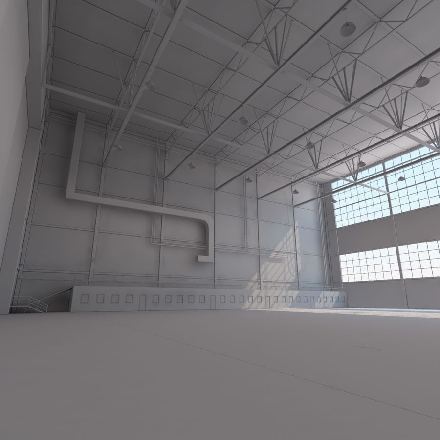 Hangar aereo royalty-free 3d model - Preview no. 18