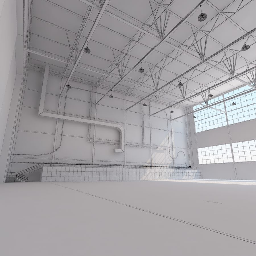 Aircraft hangar royalty-free 3d model - Preview no. 28