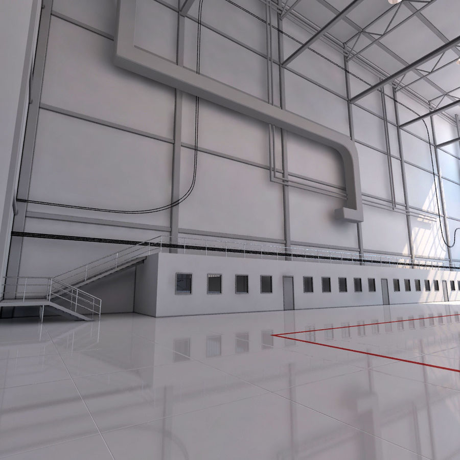 Hangar aereo royalty-free 3d model - Preview no. 9