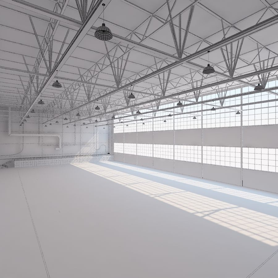 Aircraft hangar royalty-free 3d model - Preview no. 21