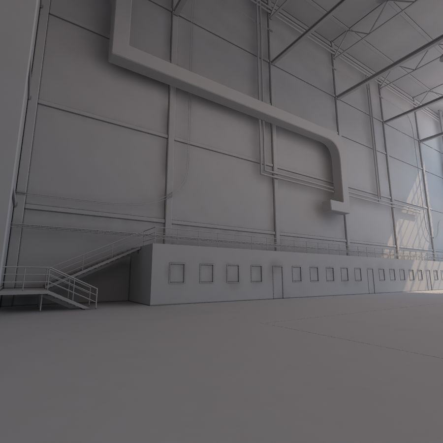 Aircraft hangar royalty-free 3d model - Preview no. 19