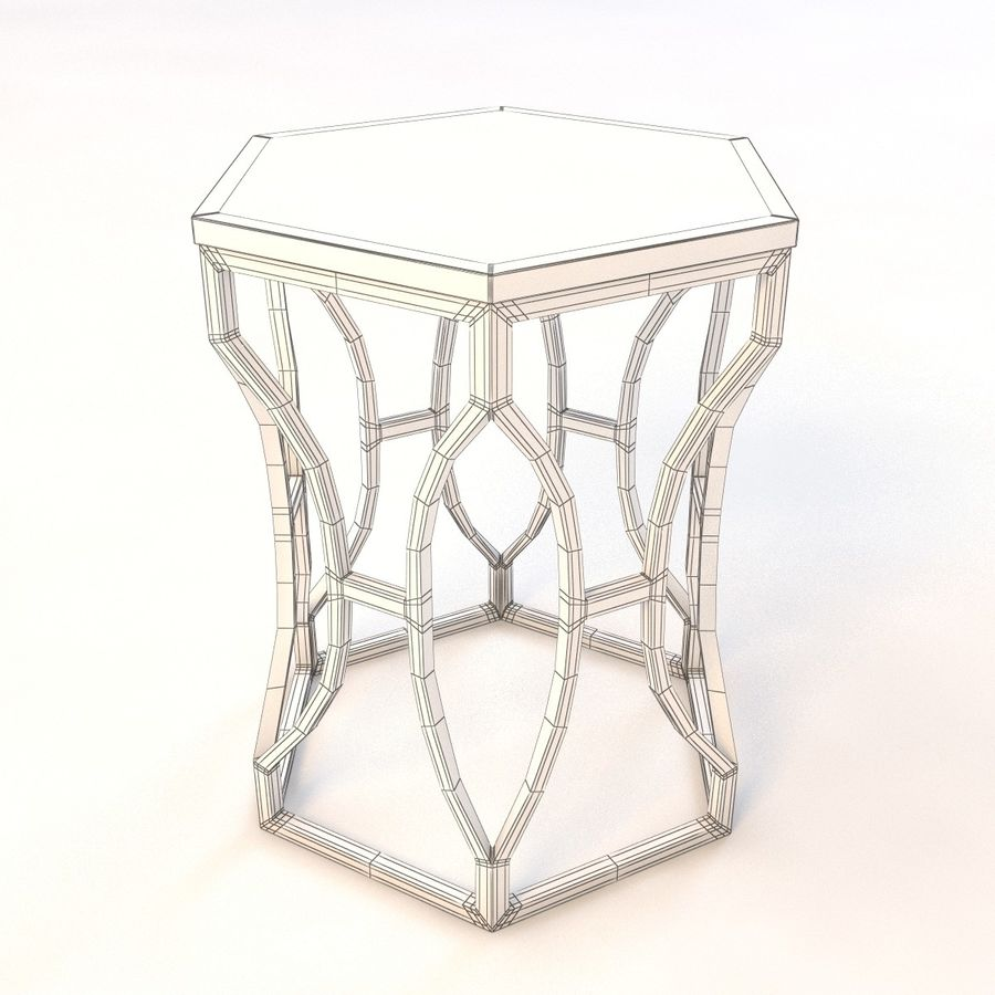 Roja Antique Gold Leaf Cream Marble Hexagonal Side Table royalty-free 3d model - Preview no. 7