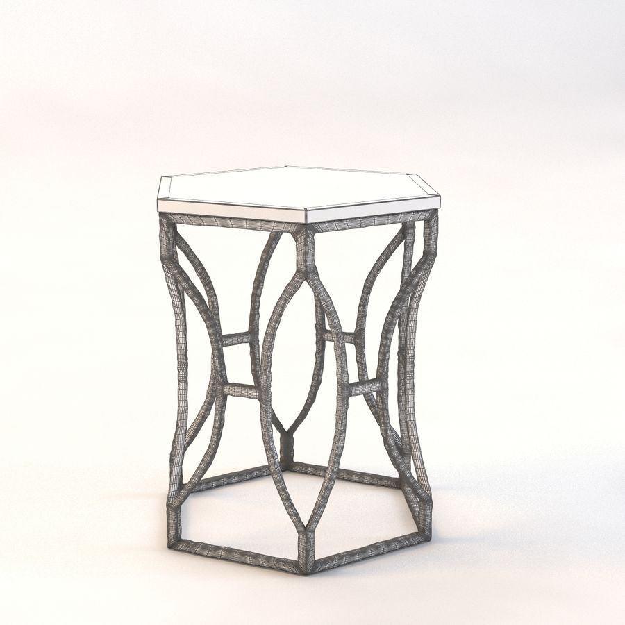 Roja Antique Gold Leaf Cream Marble Hexagonal Side Table royalty-free 3d model - Preview no. 4