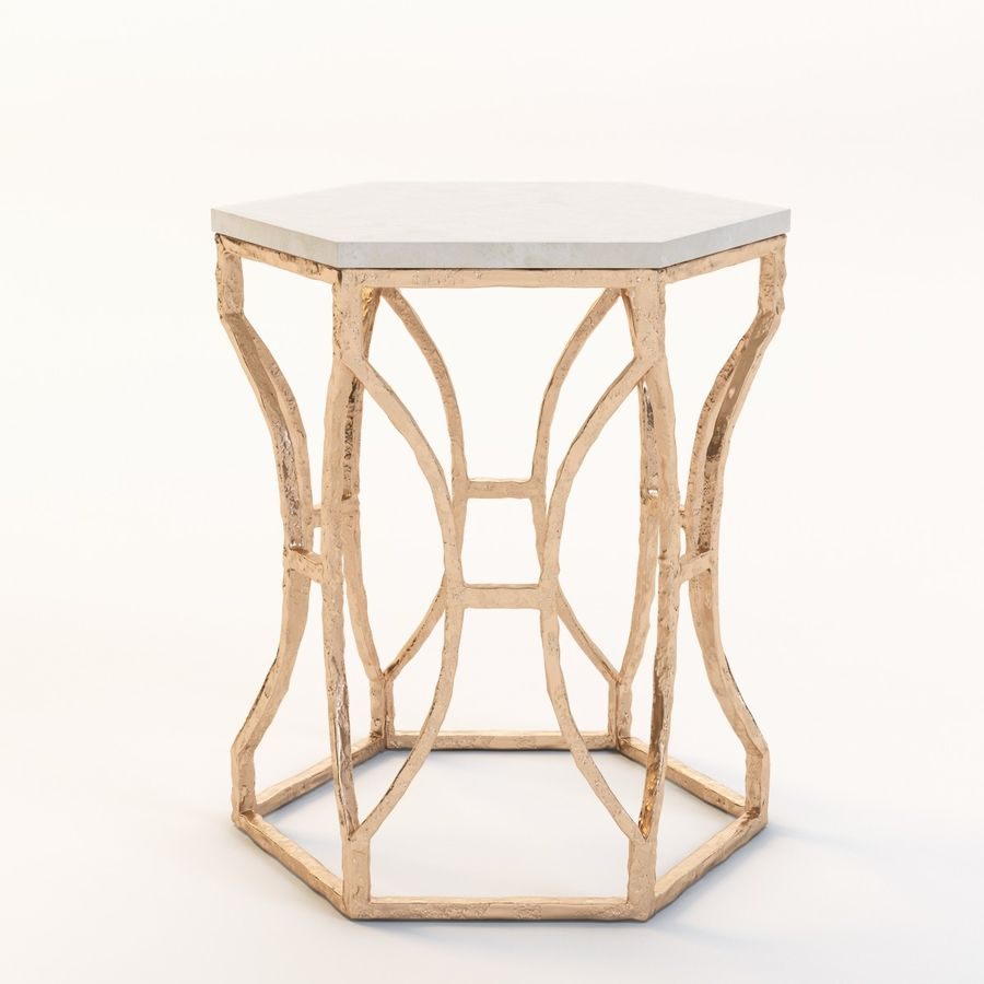 Roja Antique Gold Leaf Cream Marble Hexagonal Side Table royalty-free 3d model - Preview no. 9
