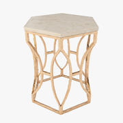 Roja Antique Gold Leaf Cream Marble Hexagonal Side Table 3d model