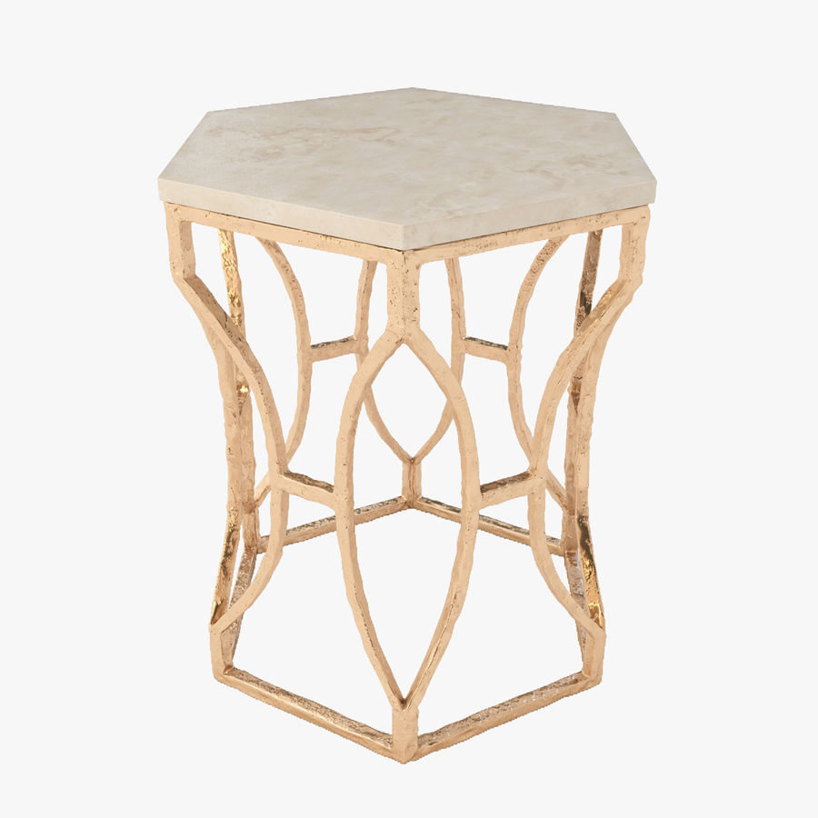 Roja Antique Gold Leaf Cream Marble Hexagonal Side Table royalty-free 3d model - Preview no. 1