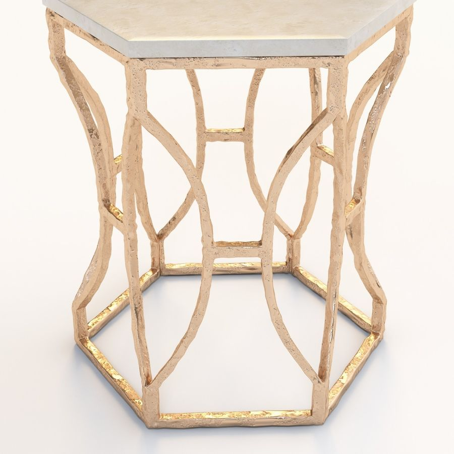 Roja Antique Gold Leaf Cream Marble Hexagonal Side Table royalty-free 3d model - Preview no. 3