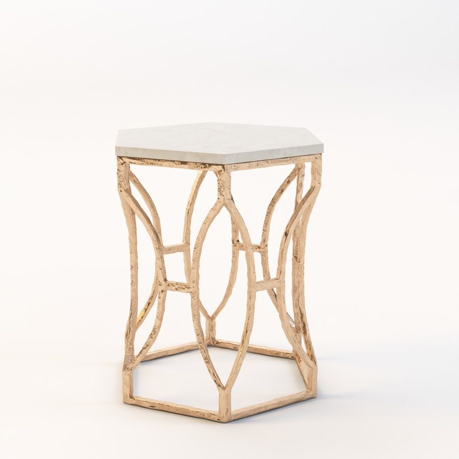 Roja Antique Gold Leaf Cream Marble Hexagonal Side Table royalty-free 3d model - Preview no. 6