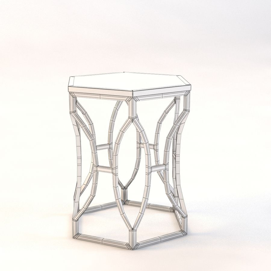 Roja Antique Gold Leaf Cream Marble Hexagonal Side Table royalty-free 3d model - Preview no. 5