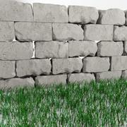고품질 손상된 벽과 잔디 3d model