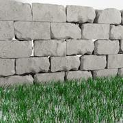 High quality damaged wall and grass 3d model