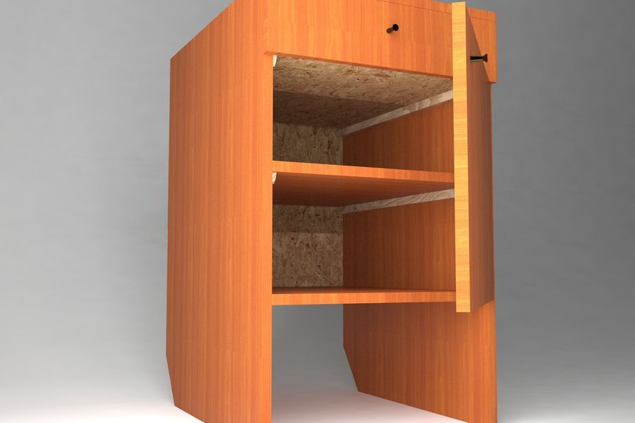 Bedside Table royalty-free 3d model - Preview no. 3