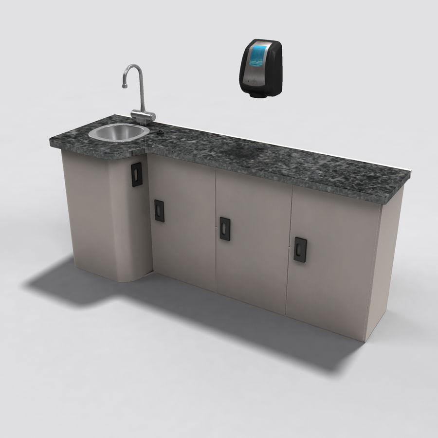 Medical Sink Cabinet royalty-free 3d model - Preview no. 3