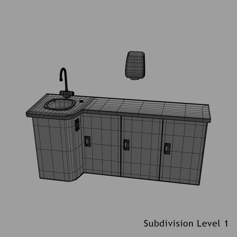 Medical Sink Cabinet royalty-free 3d model - Preview no. 17