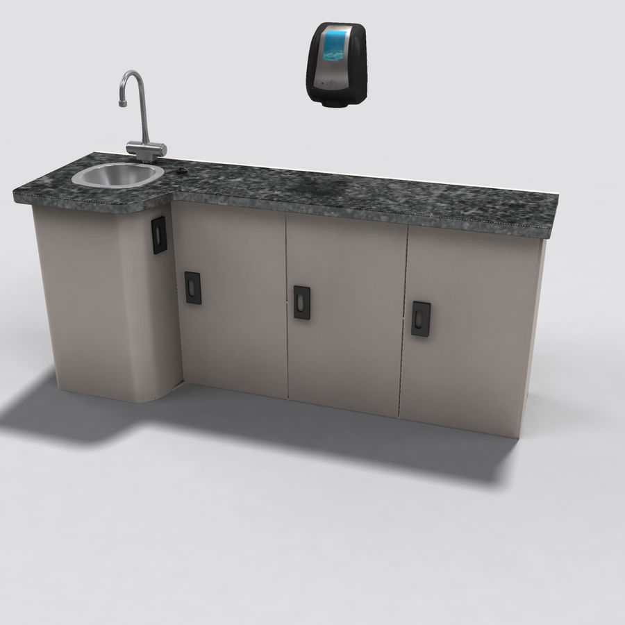 Medical Sink Cabinet royalty-free 3d model - Preview no. 8