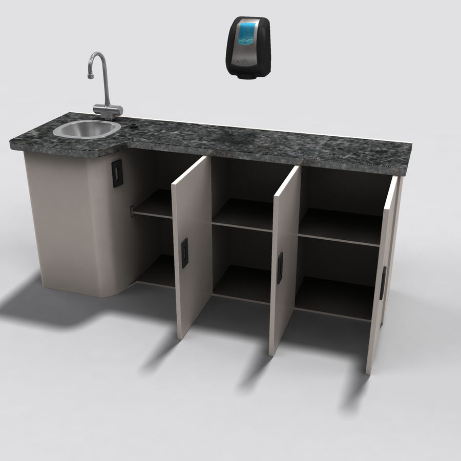 Medical Sink Cabinet royalty-free 3d model - Preview no. 9