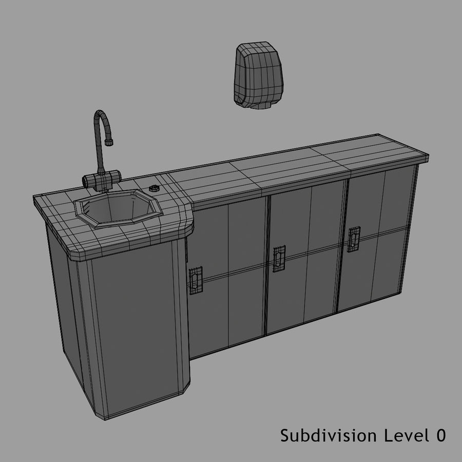Medical Sink Cabinet royalty-free 3d model - Preview no. 14
