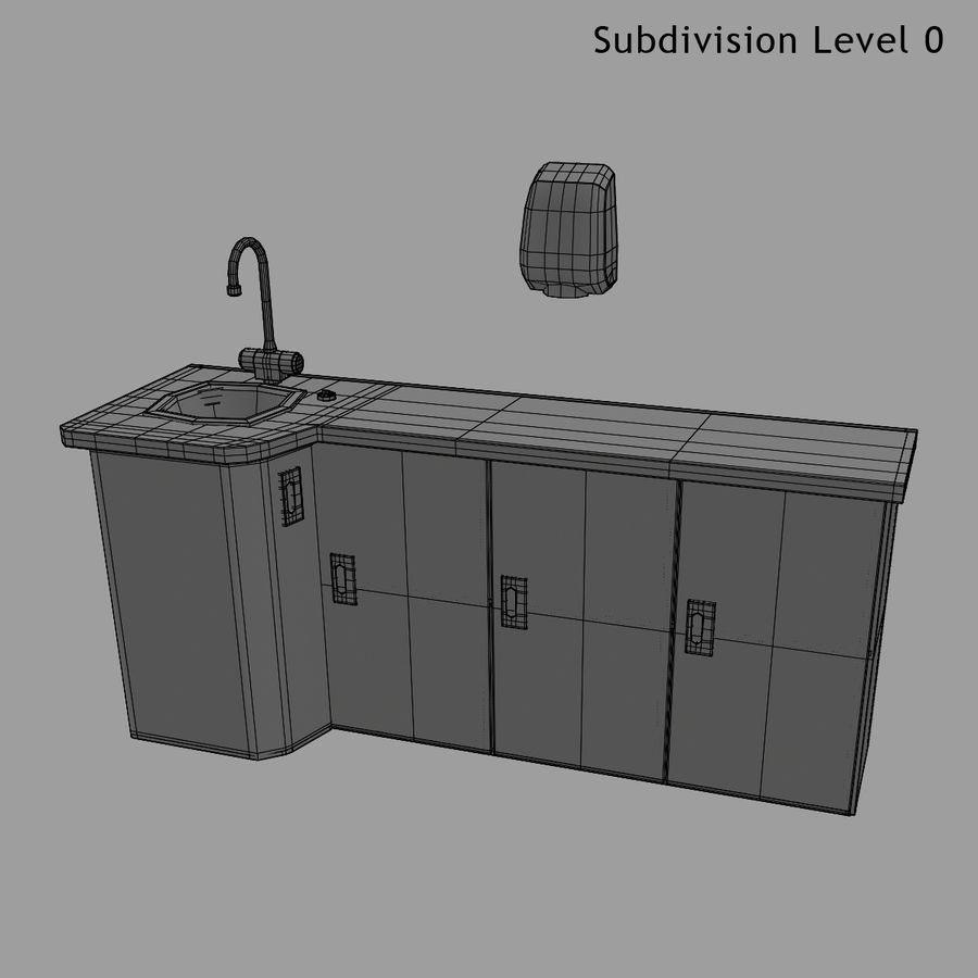Medical Sink Cabinet royalty-free 3d model - Preview no. 24