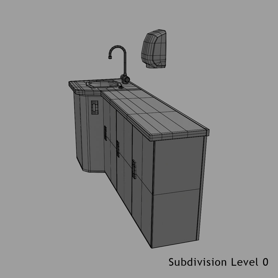 Medical Sink Cabinet royalty-free 3d model - Preview no. 18