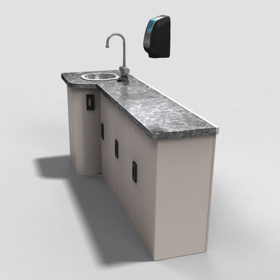 Medical Sink Cabinet royalty-free 3d model - Preview no. 4