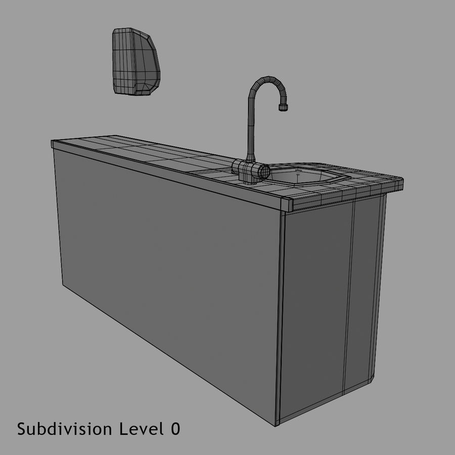 Medical Sink Cabinet royalty-free 3d model - Preview no. 20