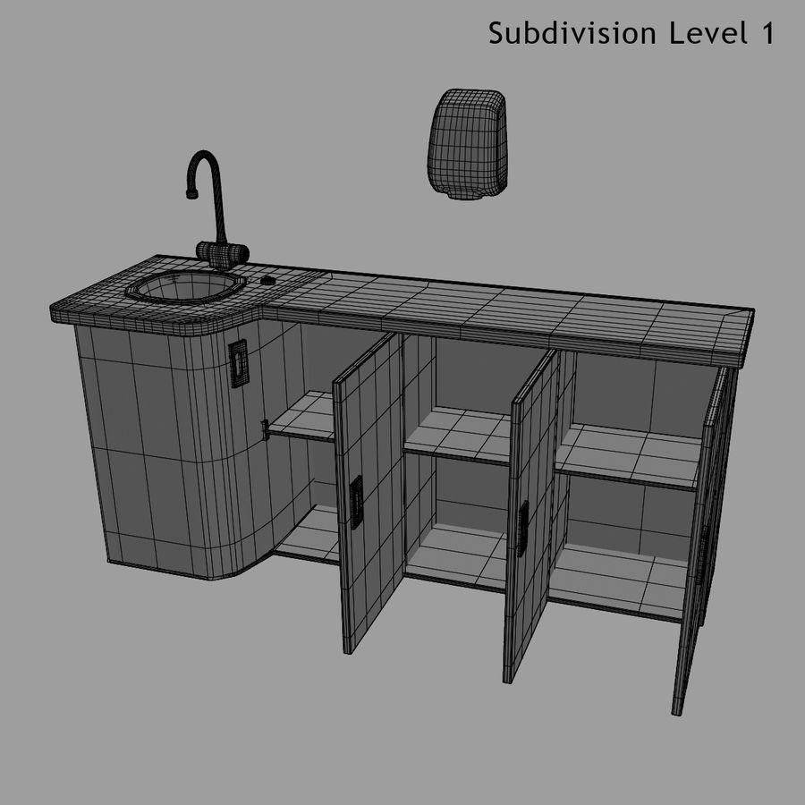 Medical Sink Cabinet royalty-free 3d model - Preview no. 27