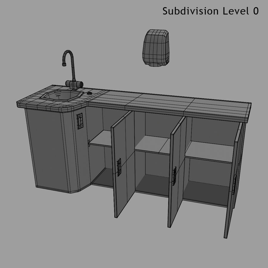 Medical Sink Cabinet royalty-free 3d model - Preview no. 26