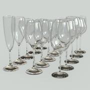 Ustaw szklane bokale na wino 3d model