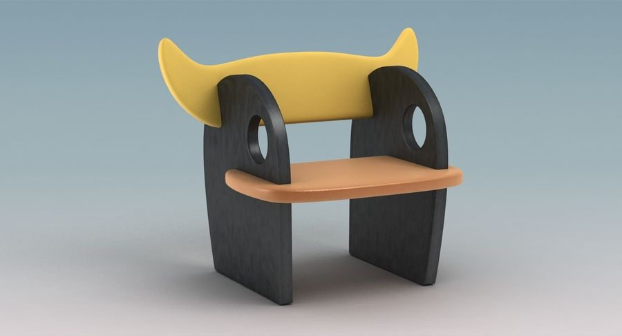 Silla para niños royalty-free modelo 3d - Preview no. 3