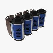 Conjunto de modelos 3D de rollo de película de 35 mm azul modelo 3d