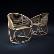 vintage-rattan-tub-chair 3d model