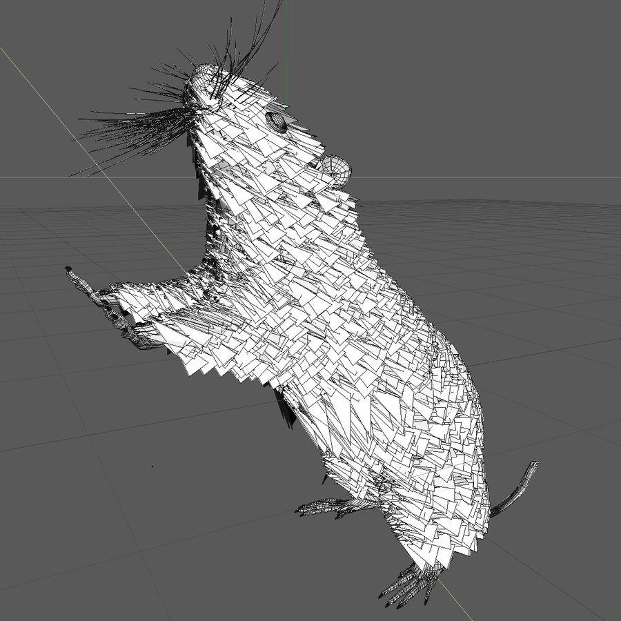 Крыса / мышь черная поза 1 royalty-free 3d model - Preview no. 7