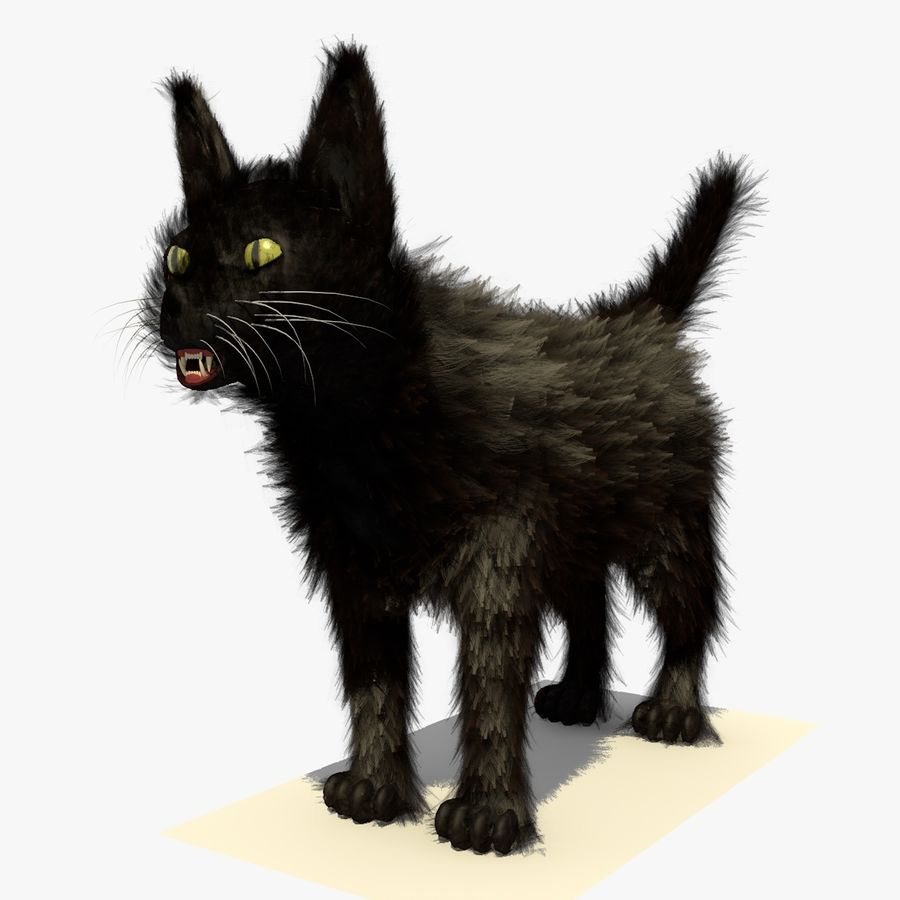 Schwarze Katze mit PELZ royalty-free 3d model - Preview no. 2