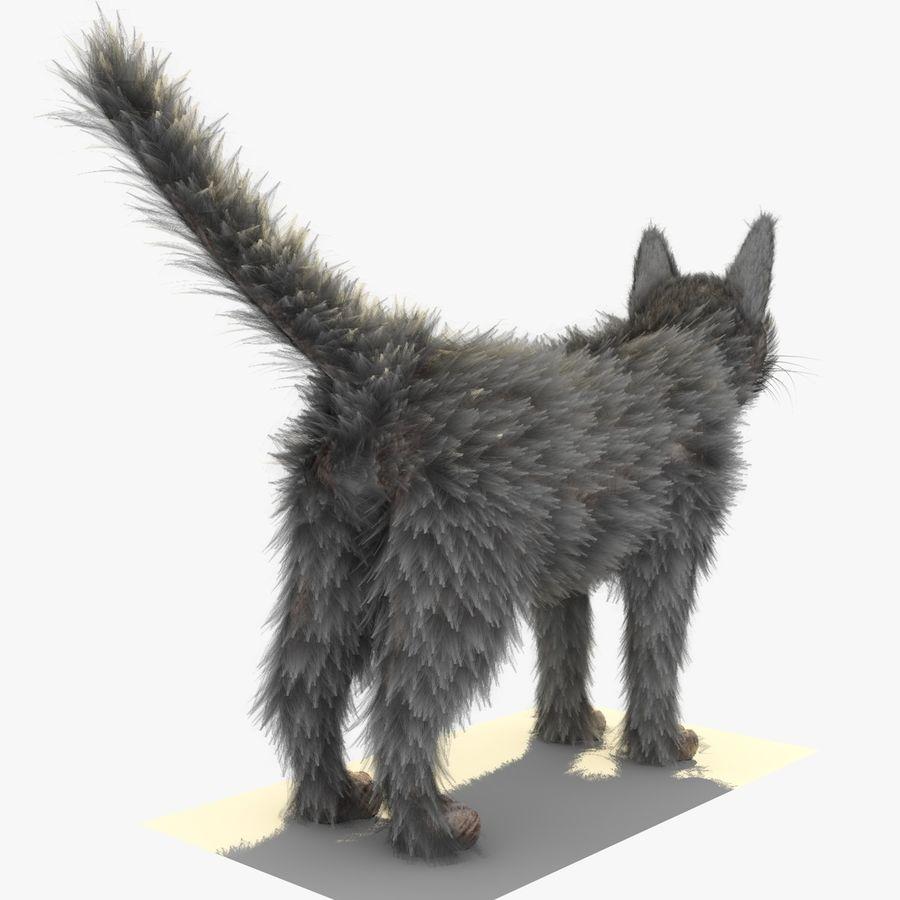 Gatto grigio con PELLICCIA royalty-free 3d model - Preview no. 6