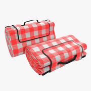 Picnic Blanket Red Folded 3d model