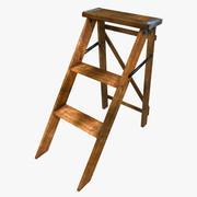Scaletta in legno vecchio 2 3d model